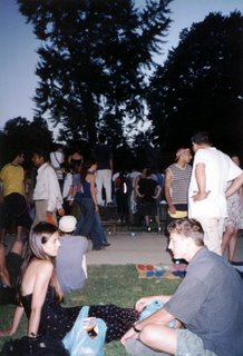 Fatima and Chad at a rave in a Barcelona Park