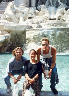 Greg, Carey and Noah in front of Trevi's Fountain