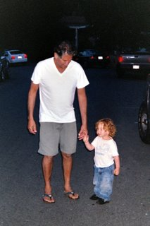 My Dad and Ryder walking to the Beach