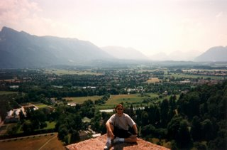 Greg with view of Salzburg from Hohensalzburg Fortress