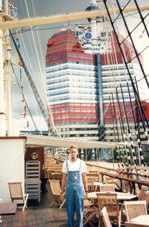 Noah in front of Skansa House on Barken ship