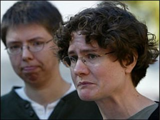 Irene 'Beth' Stroud, right, pauses during a news conference, Monday, Oct. 31, 2005, in Philadelphia, as her partner Chris Paige looks on. (AP)
