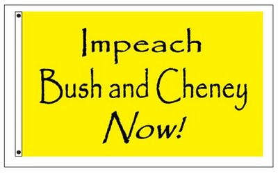 Flag: Impeach Bush and Cheney Now! (Design copyright © 2006 by Katharine O'Moore-Klopf.)