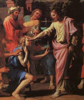 Curación del Ciego de Nacimiento - Poussin (1650)