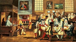 Contemporary painting of a coffee house