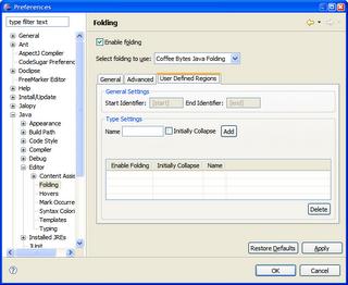 User defined code folding