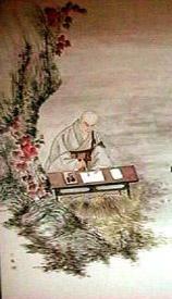 Nichiren iscribiendo un Gohonzon
