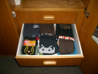 nicely folded tshirts, all of them awesome