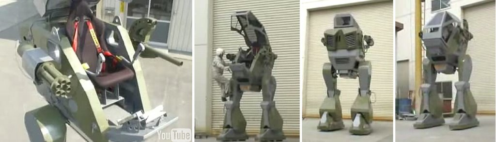 Multiple different angle views of a mecha