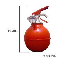 A palm-sized fire extinguisher