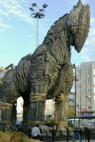 The Trojan Horse from the 2004 film Troy, preserved on the seafront at Canakkale, Turkey