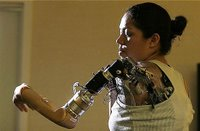 Woman with a bionic arm.