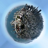 A panorama or landscape photo is transformed into a full-fledged planet