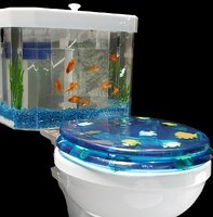 Two-piece aquarium toilet tank by AquaOne Technologies.