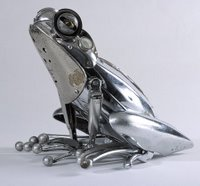 Frog sculpture made from scrap metal