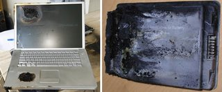 Damaged Apple laptop