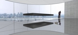A magnetically levitating bed which floats above magnets and is held in place by four very thin tethers