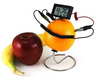 Fruit powered clock.