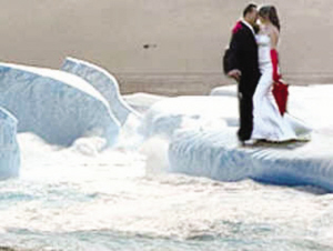 Getting married on an iceberg.