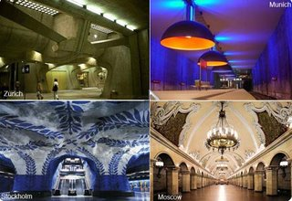 Subway/Underground stations in Zurich, Munich, Stockholm and Moscow.