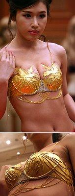 Gold bra.