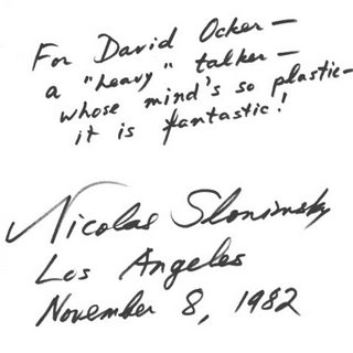 Nicholas Slonimsky inscription for David Ocker