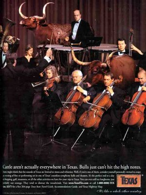 Advertisement for Texas - Orchestra with Longhorn Cattle