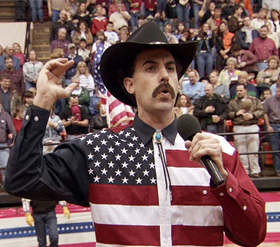 Borat infiltrates the U S and A.