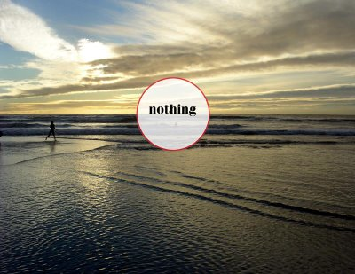 a red circle with nothing in it on the beach in California by Allan Revich, 2006