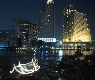 Chaopraya River Night Bangkok Thailand