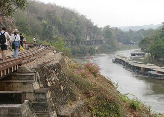 Death Railway Bridge Sidewalk Kanjanaburi Thailand