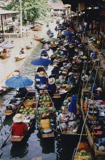 Floating Market Selling Buying Thailand