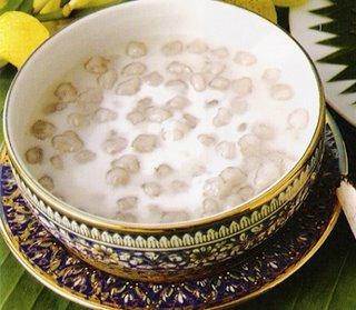 Taro Balls in Coconut Milk is Bua Loi Phuak Thai Vegetarian Dessert