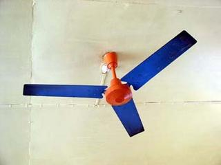 Brightly coloured fan