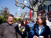 Peter and Gail at a cafe in Vevey