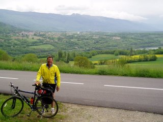 Cycling along Rhone near Swiss/French border