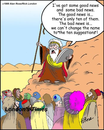 Image result for cartoon/ images of moses and the 10 commands