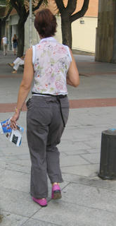 maybe a tourist, but love the purple shoes, the cargo-style pants, the floral top