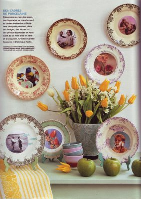 old transferware dishes with decoupage illustrations applied