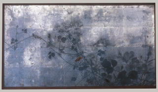 Autumn Grasses in Moonlight, Meiji period (1868–1912), ca. 1872–91. Shibata Zeshin (Japanese, 1807–1891).Two-panel folding screen; ink, lacquer, and silver leaf on paper; 26 1/8 x 69 in. (66.4 x 175.3 cm) http://www.metmuseum.org/toah/ho/10/eaj/hob_1975.268.137_av1.htm