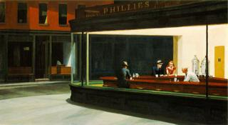 HOPPER, Edward - Nighthawks. 1942. Oil on canvas. 30 x 60 in.The Art Institute of Chicago
