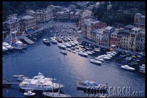 Yachts Crowding Portofino Harbor.ITL0035 Corbis Royalty Free Photograph