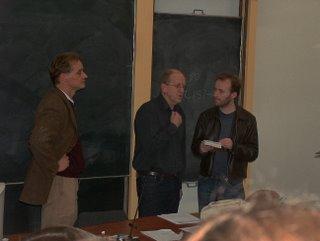 Actuele romans 26-10-2006: Ben Peperkamp, Kees 't Hart, Geert Buelens (v.l.n.r.)