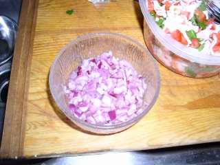 The marinated red onion