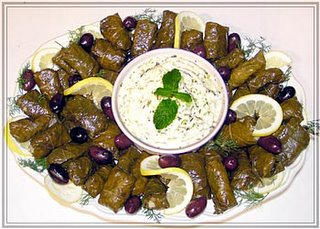 dolmades with yogurt-cucumber sauce