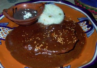 Chicken Mole with rice and black beans
