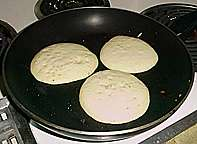 Once bubbles form over the top, pancakes are ready to be fliped.