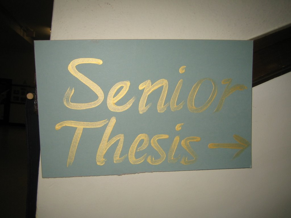 senior thesis essays A guide to writing a senior thesis in sociology | page 1 time management and sample timeline one of the most difficult parts of conducting original research is.