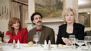 Borat at a high society dinner - In my country they would go crazy for these two women...