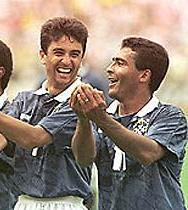 The famous cradle celebration - Romario & Bebeto